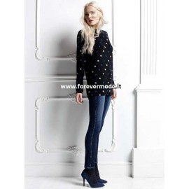 Leggings donna Matignon in jeans con cotone e strass su i fianchi