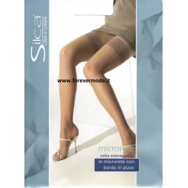 Autoreggente donna Silca in microrete e pizzo siliconato