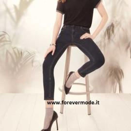 Panta donna Matignon jeans con cotone e vere tasche su fronte e retro