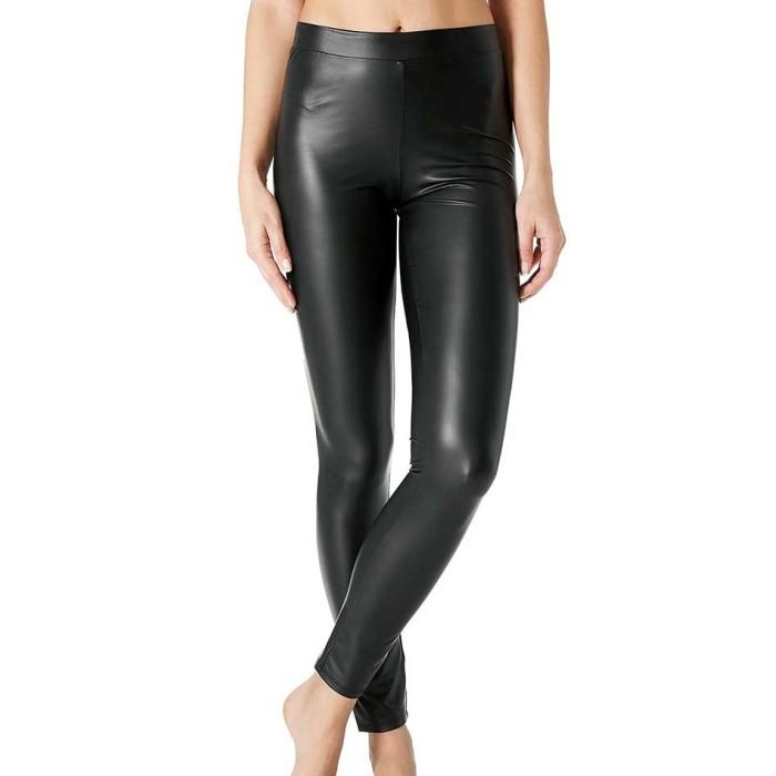 Leggings donna Matignon in eco pelle elasticizzata con tasche dietro