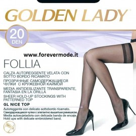 10 Paia Autoreggenti donna Golden Lady 20 con sotto bordo ricamato