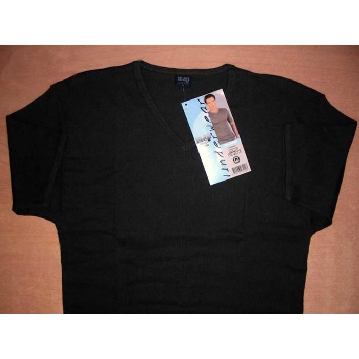 T-shirt uomo Map manica corta girocollo in cotone a costina con scollo V
