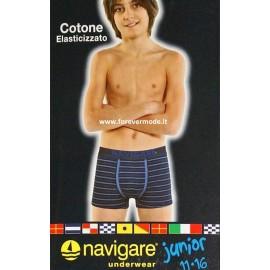 6 Boxer da bambino Navigare in cotone rigato con elastico loggato