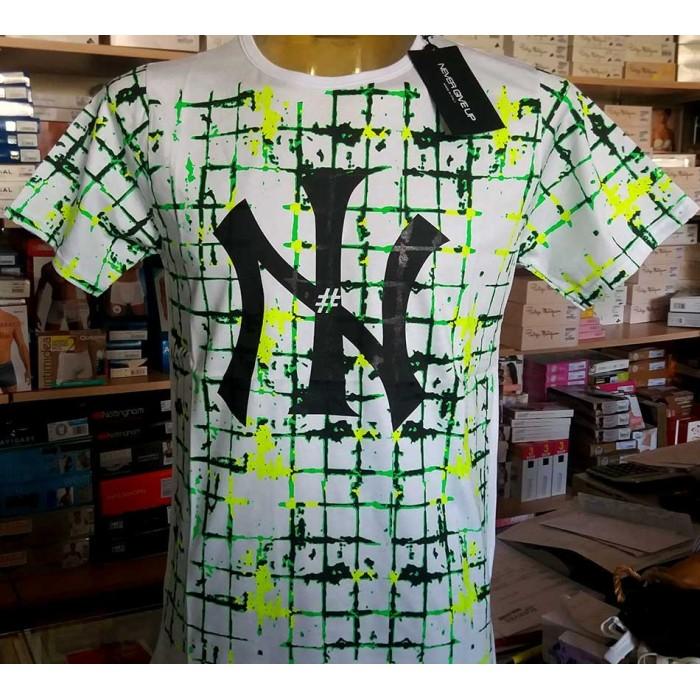 T-shirt uomo Never manica corta a girocollo in puro cotone con stampa